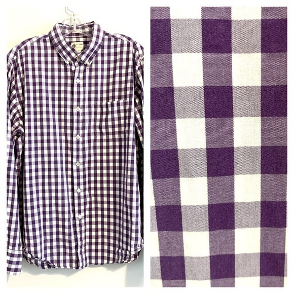 J. Crew Other - J CREW Purple and White Checked Button Up Shirt